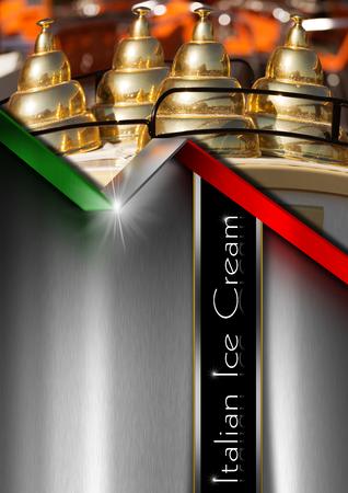 Fond gris métal avec le drapeau italien et le détail d'un panier de crème glacée. Modèle pour un menu de crème glacée Banque d'images