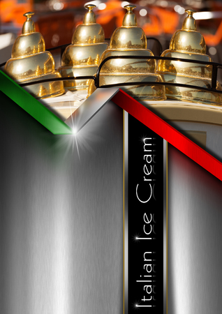 ice cream cart: Metal grey background with italian flag and detail of an ice cream cart. Template for a ice cream menu