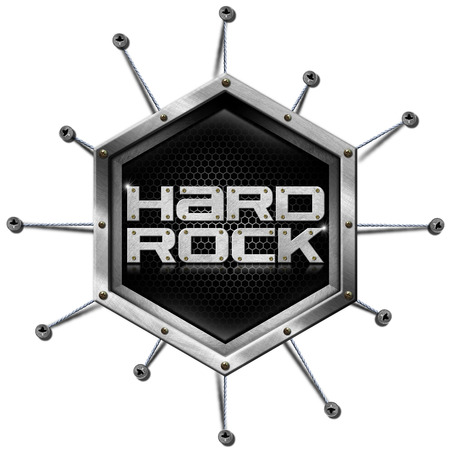Metallic hexagon with ropes and screws, inside the written - Hard Rock. Isolated on white background photo