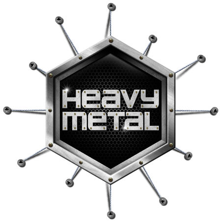 heavy metal: Metallic hexagon with ropes and screws, inside the written - Heavy Metal. Isolated on white background