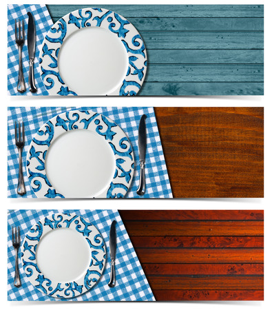 Set of three banners with a empty plate and silver cutlery on wooden background with blue and white checkered tablecloth photo