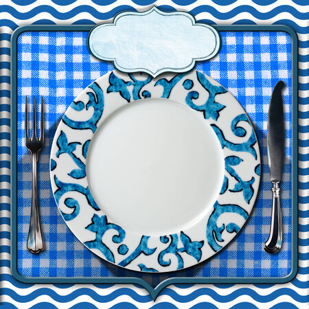 Abstract background with waves, empty plate with cutlery, blue and white checkered tablecloth and empty label. Table set for a seafood menu photo