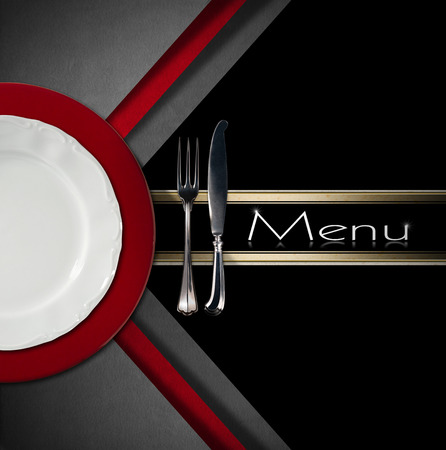 Restaurant menu with empty and white plate on red underplate with silver cutlery, fork and knife on grey, red and black background with black band