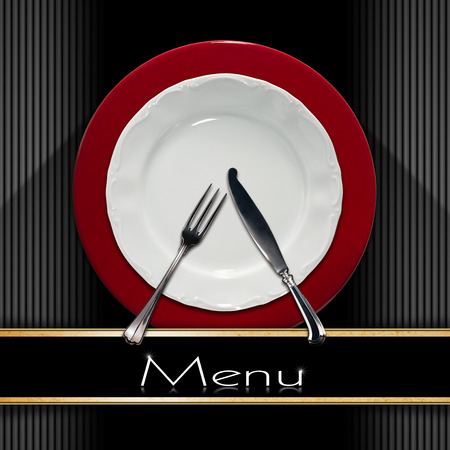 Restaurant menu with empty and white plate on red underplate with silver cutlery, fork and knife on grey and black background with black band photo