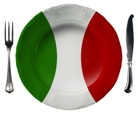 Concept of Italian cuisine with empty plate colored with colors of the Italian flag and silver cutlery isolated on white background photo
