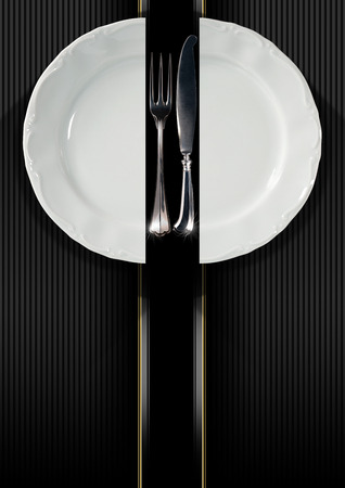Restaurant menu with empty and white plate with fork and knife on black and gray corrugated gold background with vertical stripes photo