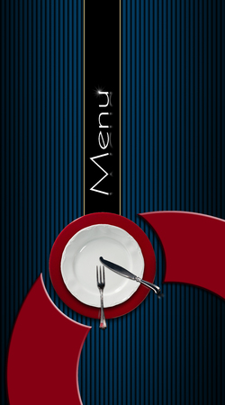 Restaurant menu with empty plate on red and white underplate with silver cutlery on black and blue corrugated background with vertical black band photo