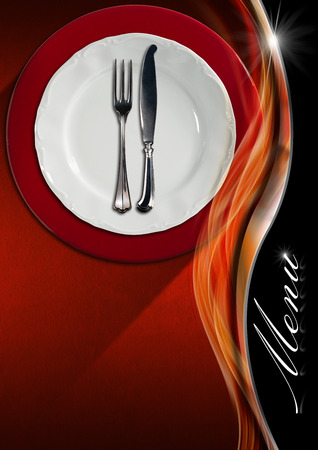 Restaurant menu with empty plate on red and white underplate with silver cutlery, fork and knife on red velvet and orange metal background with wave and text Menu photo