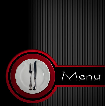 Restaurant menu with empty plate on red and white underplate with silver cutlery, fork and knife on gray, black and red background with black band photo