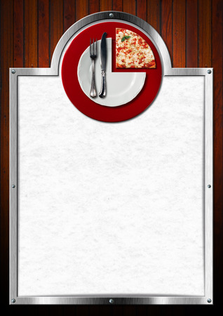 Wooden and metallic background with white paper, white on red plate with cutlery and underplate slice of pizza. Template for a pizza menu photo