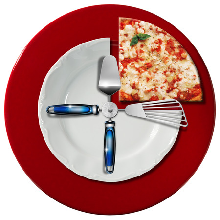 pizza place: Clock composed by a white plate and a red underplate with kitchen utensils in the place of the clock hands and a slice of pizza