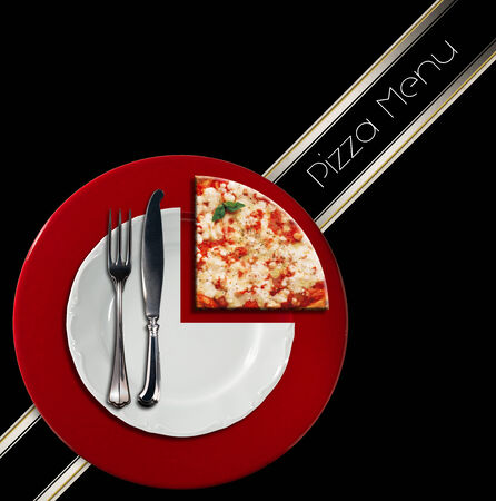 Pizzeria menu with white plate on red underplate with cutlery and slice of pizza, on black background with diagonal band photo
