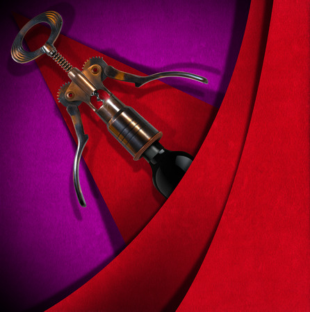 Red and purple velvet background with geometric shapes, old corkscrew with a bottle. Template for menu or wine list photo