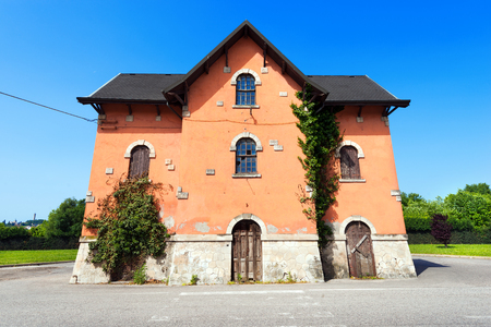 Old railway station in Castelgomberto, Vicenza, Veneto, Italy. Inaugurated in the year 1880 and closed in 1980