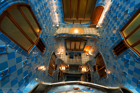 remodelled: BARCELONA, SPAIN - JUNE 12, 2014: Interior of the famous Casa Batllo, restored by Antoni Gaudi and Josep Maria Jujol, built in the year 1877 and remodelled in the years 1904 1906 Editorial