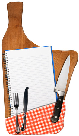 silver cutlery: Open notebook for recipes or menu on an used wooden cutting board with checkered tablecloth, kitchen knife and silver cutlery isolated on white background