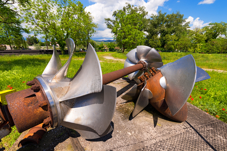impeller: Old hydroelectric turbines abandoned and out of use