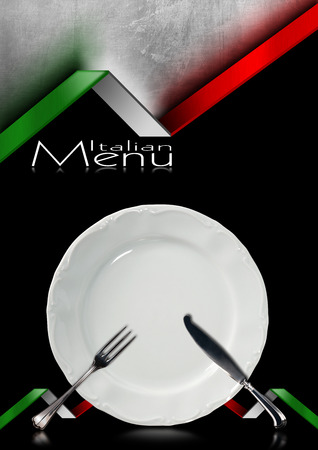 Black and metallic background with italian flags, empty white plate with silver cutlery, fork and knife. Template for a Italian food menu photo