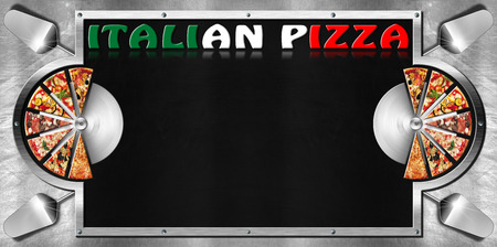 Empty blackboard on metal background with metal frame, slices of pizza, spatulas, stainless steel pizza cutters and written Italian Pizza. Template for a italian pizza menu photo