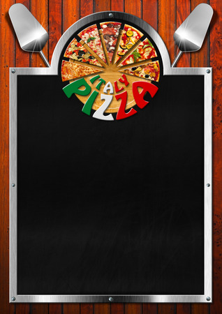 Empty blackboard on wooden background with metal frame, slices of pizza, spatulas and written Italy Pizza on round cutting board. Template for a italian pizza menu photo