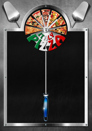 Empty blackboard on metal background with metal frame, slices of pizza, spatulas and written Italy Pizza on the stainless steel pizza cutter. Template for a italian pizza menu photo