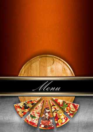 Orange and metal background with horizontal black band and written menu, round cutting board and slices of pizza. Template for a pizza menu
