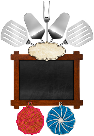 Rustic and empty blackboard with wooden frame, empty label, five kitchen utensils and two wool pot holders. Template for a recipes or a food menu photo