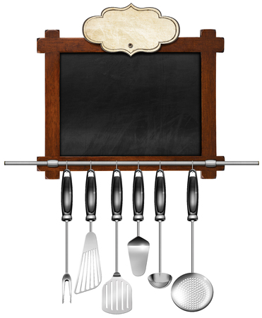 Rustic and empty blackboard with wooden frame, empty label, a set of kitchen utensils hanging on a steel pole. Template for a recipes or a food menu photo