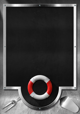 Empty blackboard on a metallic background with kitchen utensils and red and white lifebuoy. Template for recipes or seafood menu photo