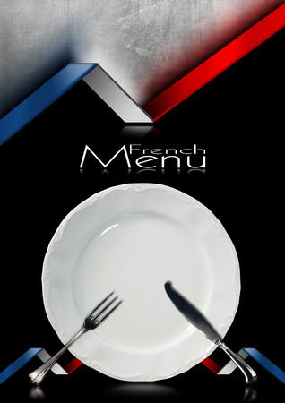Black and metallic background with French flags, empty white plate with silver cutlery, fork and knife. Template for a French food menu photo