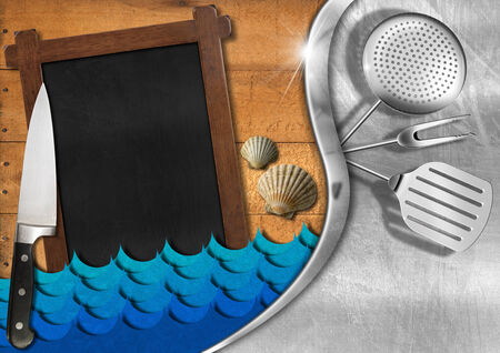 Wooden and metallic background with stylized waves, empty blackboard, kitchen utensils, kitchen knife and seashells. Template for a sea menu photo