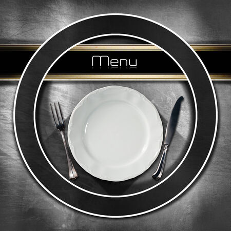 Restaurant menu with empty plate and cutlery, on metal brushed background with dark circle and black horizontal band and written menu photo