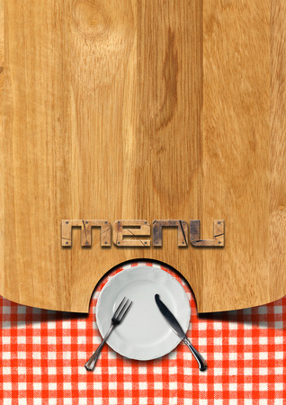 Wooden brown background with checkered tablecloth photo