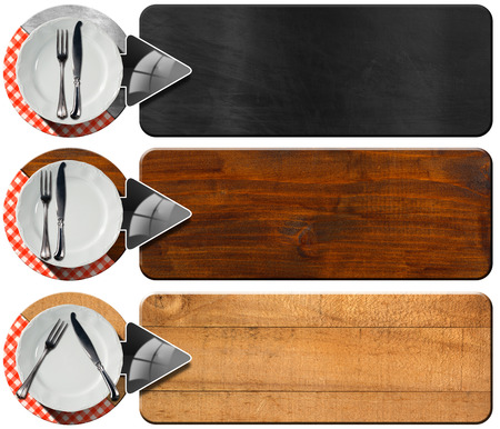 Collection of three kitchen banners with white empty plate, silver cutlery, red and white checkered tablecloth and grey arrows. Isolated on white background photo