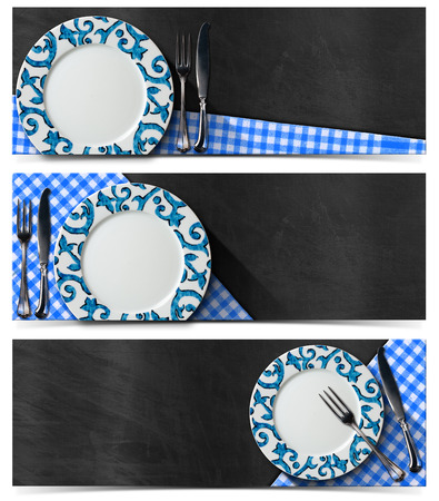 Collection of three kitchen banners with empty decorated plate, silver cutlery, blue and white checked tablecloth on empty blackboard. Isolated on white background photo