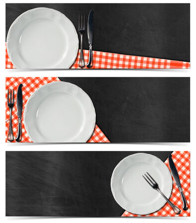Collection of three kitchen banners with empty white plate photo