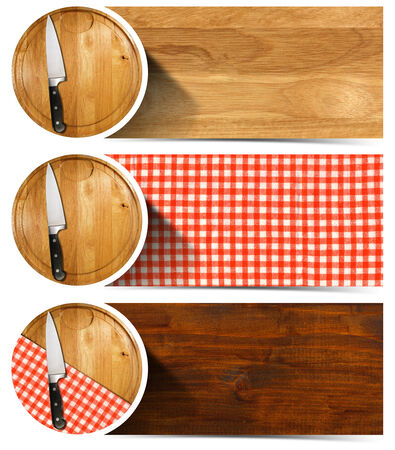 Collection of three kitchen banners with round cutting board, red and white checkered tablecloth, kitchen knife, wooden background. Isolated on white background photo