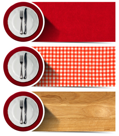 Collection of three kitchen banners with white and red empty plates, silver cutlery, checkered tablecloth, wooden background, red velvet background. Isolated on white background photo