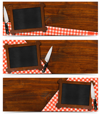 Collection of three kitchen banners with empty blackboard with wooden frame, red and white checked tablecloth and kitchen knife on a wood background. Isolated on white background photo