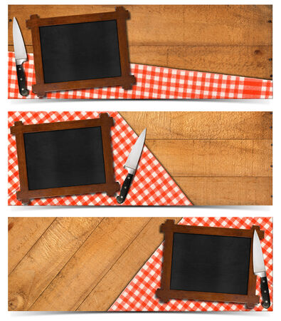 Collection of three kitchen banners with empty blackboard with wooden frame photo