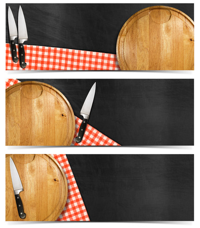 Collection of three kitchen banners with round cutting board, red and white checked tablecloth, kitchen knives on empty blackboard. Isolated on white background photo