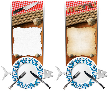 Two vertical banners with metal fish, plate with cutlery, empty parchment on wooden background with ropes, kitchen knife, checkered tablecloth and seashells. Template for seafood photo