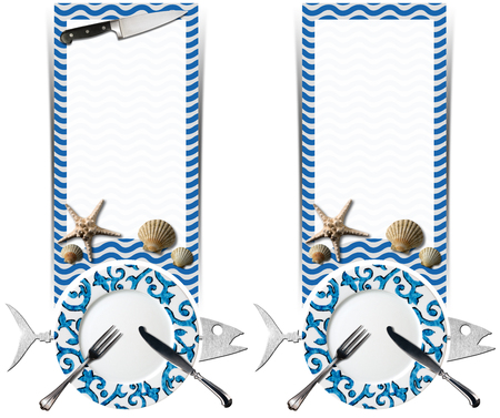 Two vertical banners with metal fish, empty plate with cutlery, blue and white sea waves, seashells and starfish, kitchen knife. Template for seafood photo