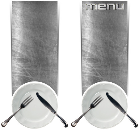 Two vertical metallic banners with empty white plate and silver cutlery isolated on white background. Template for recipes or food menu photo