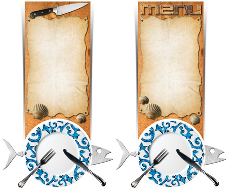 Two vertical banners with metal fish, empty decorated plate, silver cutlery, empty parchment on wooden background with kitchen knife and seashells. Template for seafood photo