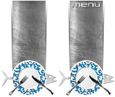 Two vertical banners with metal fish, empty decorated plate with silver cutlery, steel brushed background, written menu. Isolated on white. Template for seafood photo