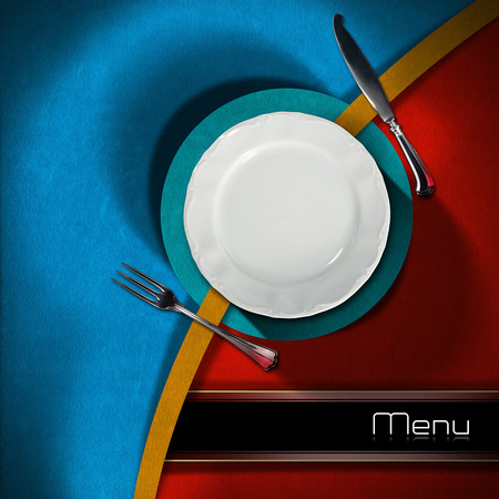 Restaurant menu with empty plate and cutlery, on red, blue and orange velvet background with black horizontal band with written menu photo
