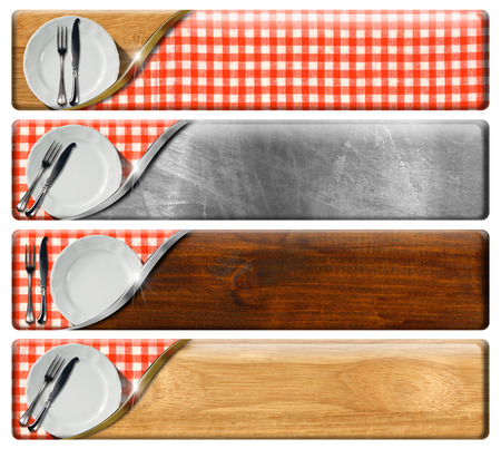 Collection of four kitchen banners with white plates and silver cutlery, red and white checkered tablecloth, wood and metal background with clipping path photo