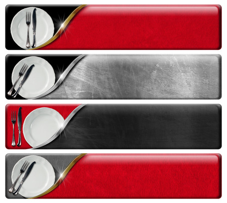 Collection of four kitchen banners with white plates and silver cutlery, black, red and metal background with clipping path. photo