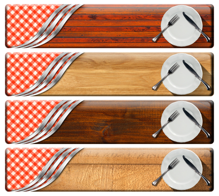 Collection of four kitchen banners with white empty plates, silver cutlery, checkered tablecloth, wooden background, metallic curves. Isolated on white background photo
